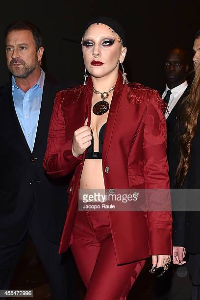 Lady Gaga is seen leaving Park Hyatt Hotel on November 5 2014 in Milan Italy
