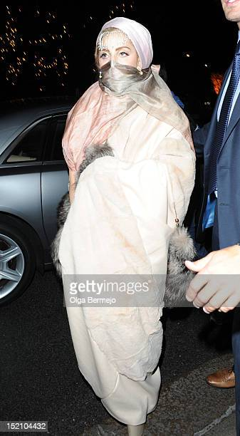 Lady Gaga is seen leaving The Royal Courts Of Justice after watching the Philip Treacy show at London Fashion Week at Royal Courts of Justice, Strand...