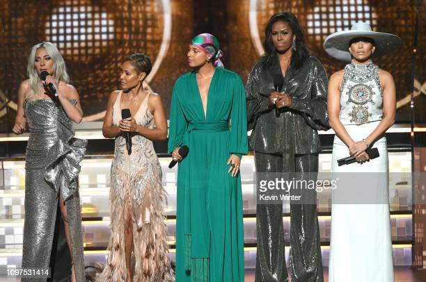 Lady Gaga Jada Pinkett Smith Alicia Keys Michelle Obama and Jennifer Lopez speak onstage during the 61st Annual GRAMMY Awards at Staples Center on...