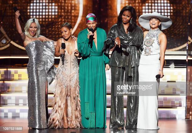 Lady Gaga, Jada Pinkett Smith, Alicia Keys, Michelle Obama, and Jennifer Lopez speak onstage during the 61st Annual GRAMMY Awards at Staples Center...