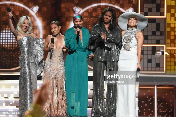 Lady Gaga, Jada Pinkett Smith, Alicia Keys, Michelle Obama and Jennifer Lopez speak onstage during the 61st Annual GRAMMY Awards at Staples Center on...