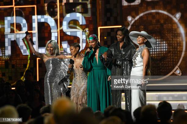 Lady Gaga Jada Pinkett Smith host Alicia Keys Michelle Obama and Jennifer Lopez speak onstage during the 61st Annual GRAMMY Awards at Staples Center...