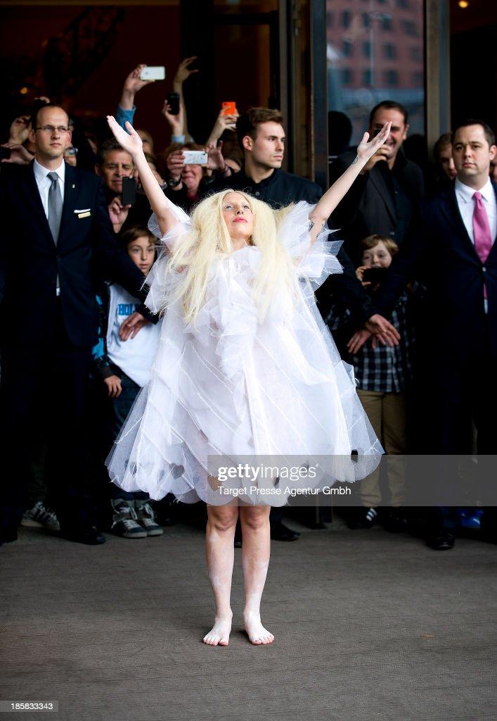 Lady Gaga leaves Hotel Ritz on October 25, 2013 in Berlin, Germany.