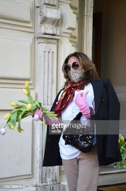 """Lady Gaga leaves Rome after shooting for Ridley Scott's """"The House of Gucci"""" on May 9, 2021 in Rome, Italy."""