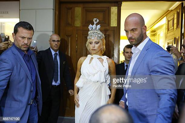 """Lady Gaga leaves the grand Bretagne Hotel in Athens on her way to her concert, ahead of the Greek leg of her world tour, """"ArtRave: The Artpop Ball""""..."""