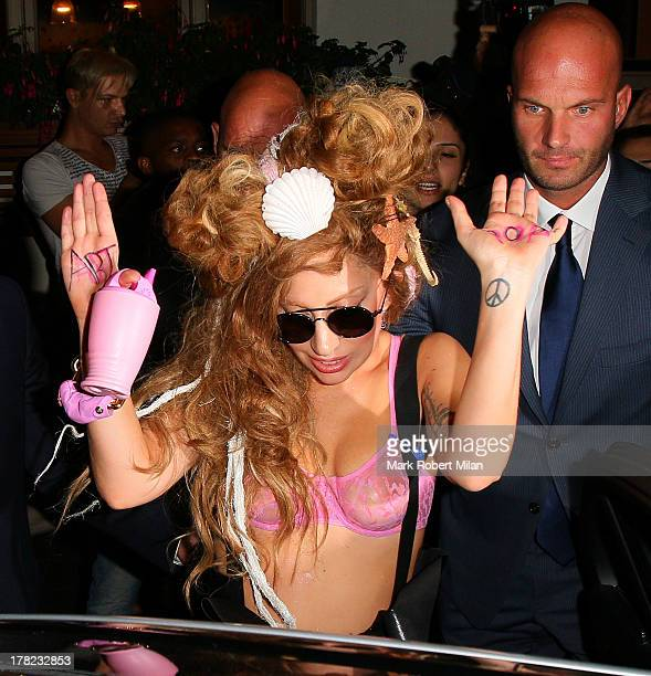 Lady Gaga leaves The Sea Shell of Lisson Grove on August 27 2013 in London England