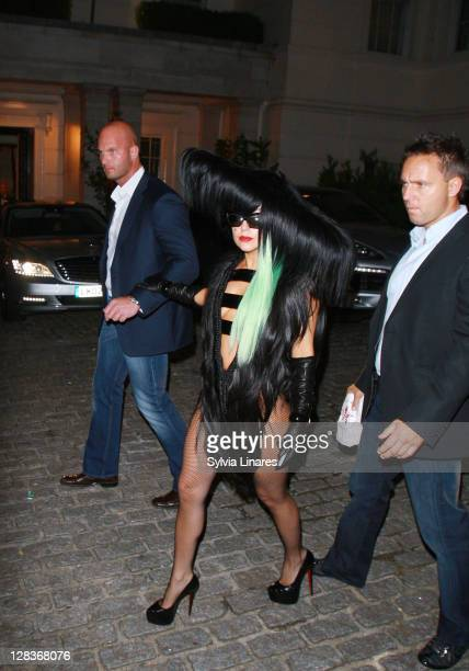 Lady Gaga leaving her hotel on October 6 2011 in London England