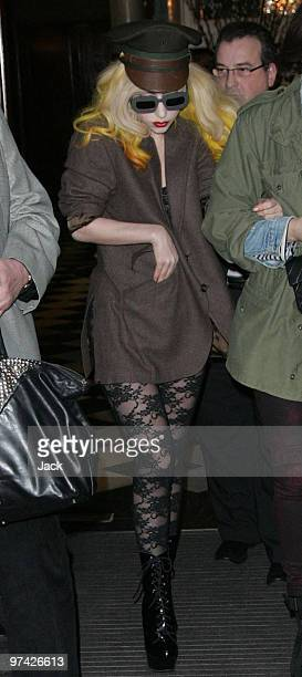 Lady Gaga leaving her London hotel on February 28 2010 in London England