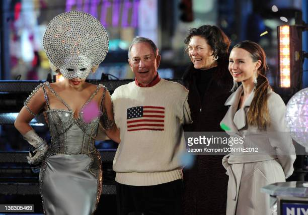 Lady Gaga Mayor Michael Bloomberg Diana Taylor and Georgina Bloomberg pose onstage during Dick Clark's New Year's Rockin' Eve with Ryan Seacrest 2012...