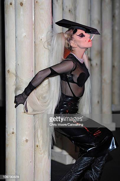 Lady Gaga models on the runway at the Thierry Mugler fashion show during Paris Fashion Week on March 2 2011 in Paris France