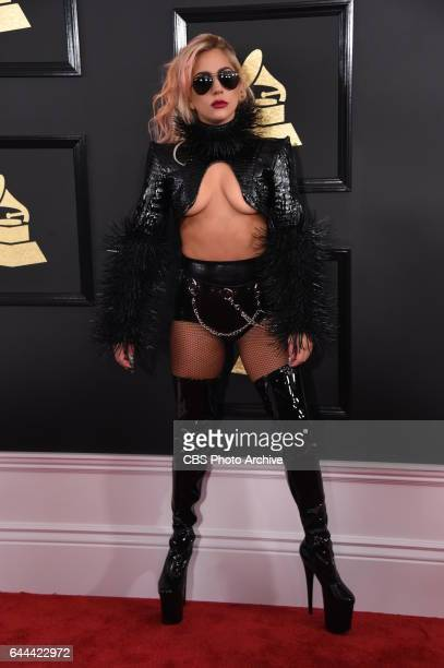 Lady Gaga on the Red Carpet at THE 59TH ANNUAL GRAMMY AWARDS broadcast live from the STAPLES Center in Los Angeles Sunday Feb 12 on the CBS...