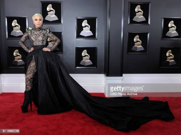 Lady Gaga on the red carpet at THE 60TH ANNUAL GRAMMY AWARDS broadcast live on both coasts from New York City's Madison Square Garden on Sunday Jan...