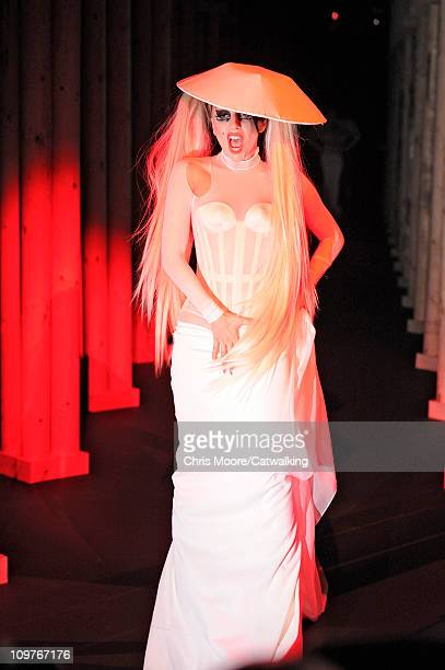 Lady Gaga on the runway at the Mugler fashion show during Paris Fashion Week on March 2, 2011 in Paris, France.