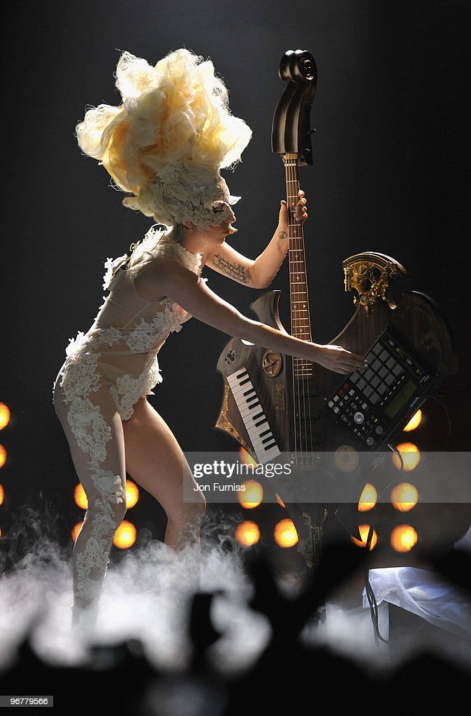Lady Gaga perfoms on stage at The Brit Awards 2010 at Earls Court on February 16, 2010 in London, England.