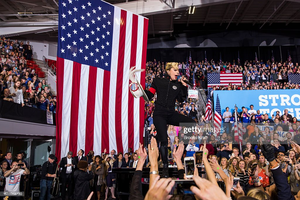 Lady Gaga performs at a rally for Democratic presidential nominee Hillary Clinton, November 8, 2016 in Raleigh, North Carolina.