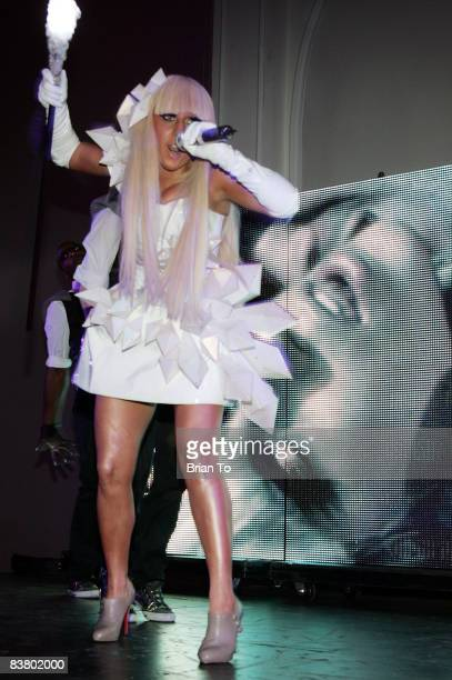 Lady GaGa performs at Interscope Geffen AM Records Host American Music Awards After Party at Boulevard3 on November 23 2008 in Hollywood California