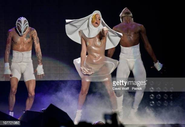 Lady Gaga performs at Palais Omnisports de Bercy on December 21 2010 in Paris France
