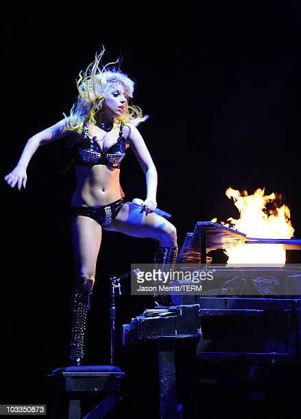 Lady Gaga performs at Staples Center on August 11 2010 in Los Angeles California
