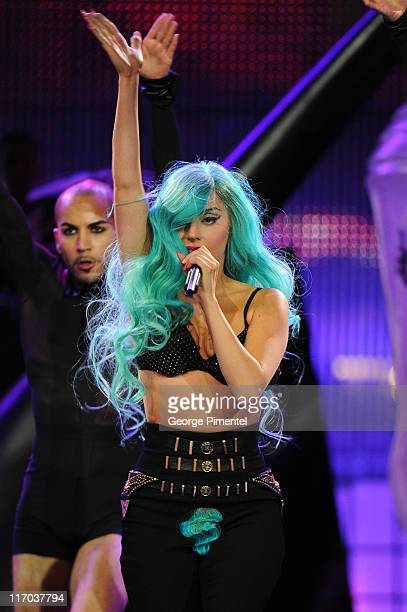 Lady Gaga performs at the 22nd Annual MuchMusic Video Awards at the MuchMusic HQ on June 19 2011 in Toronto Canada