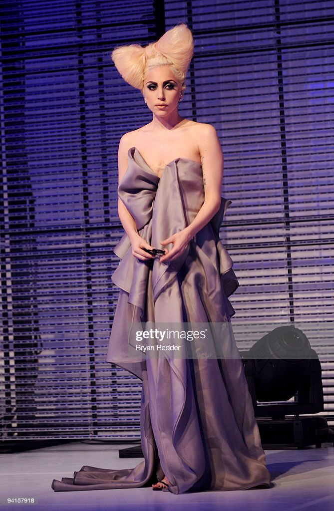 Lady Gaga performs at the launch of VEVO, the world's premiere destination for premium music video and entertainmentat Skylight Studio on December 8, 2009 in New York City.