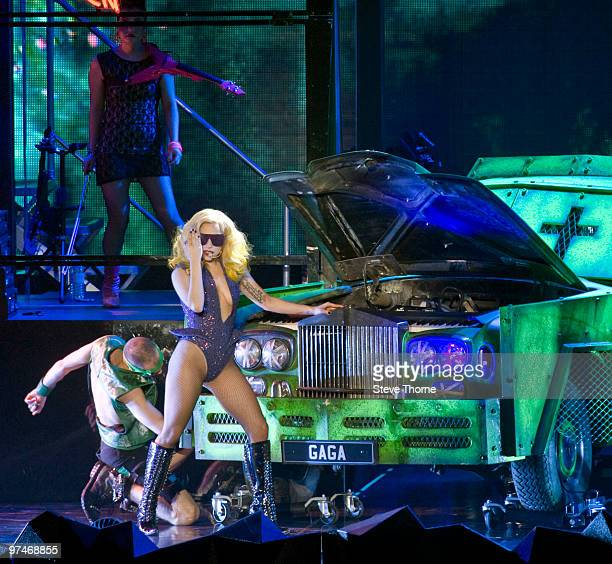 Lady Gaga performs at the LG Arena on March 5, 2010 in Birmingham, England.