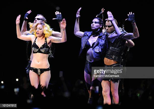 Lady Gaga performs at the LG Arena on May 28 2010 in Birmingham England