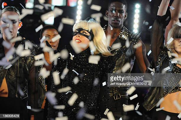 Lady Gaga performs during Dick Clark's New Year's Rockin' Eve with Ryan Seacrest 2012 at Times Square on December 31 2011 in New York City