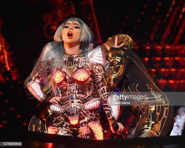 Lady Gaga performs during her 'ENIGMA' residency at Park Theater at Park MGM on December 28 2018 in Las Vegas Nevada