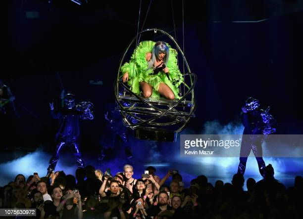 Lady Gaga performs during her 'ENIGMA' residency at Park Theater at Park MGM on December 28, 2018 in Las Vegas, Nevada.