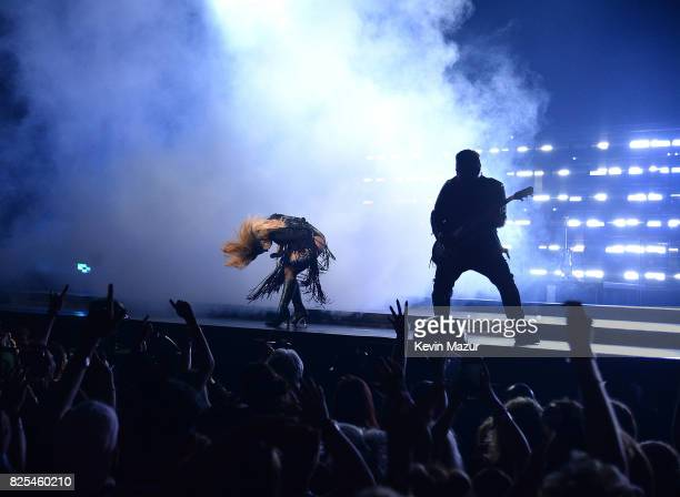Lady Gaga performs during her Joanne world tour at Rogers Arena on August 1 2017 in Vancouver Canada