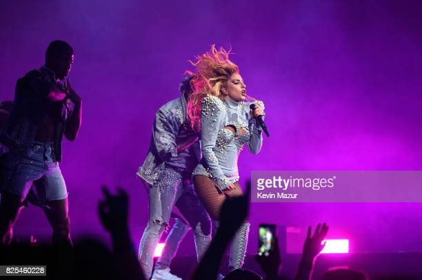 Lady Gaga performs during her 'Joanne' world tour at Rogers Arena on August 1 2017 in Vancouver Canada