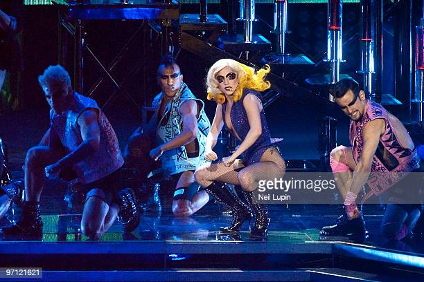 Lady Gaga performs during her Monster Ball tour at the O2 Arena on February 26 2010 in London England