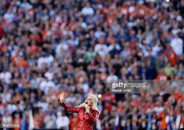 Lady Gaga performs during Super Bowl 50 at Levi's Stadium on February 7 2016 in Santa Clara California