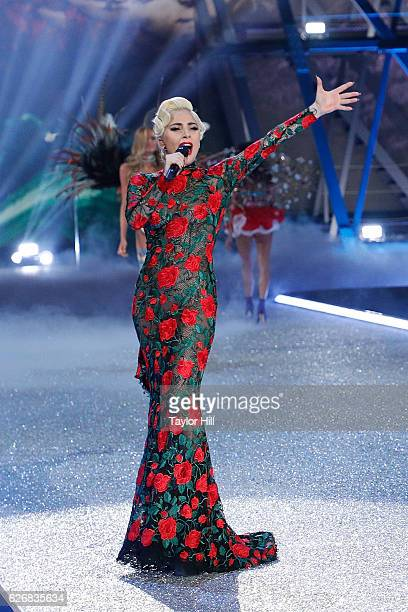 Lady Gaga performs during the 2016 Victoria's Secret Fashion Show at Le Grand Palais on November 30 2016 in Paris France