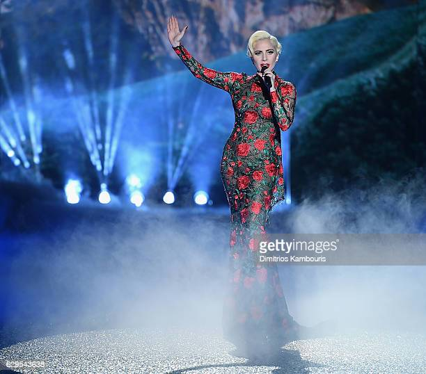 Lady Gaga performs during the 2016 Victoria's Secret Fashion Show on November 30 2016 in Paris France