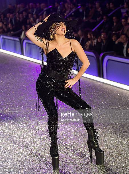 Lady Gaga performs during the annual Victoria's Secret fashion show at Grand Palais on November 30 2016 in Paris France