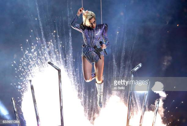 Lady Gaga performs during the Pepsi Zero Sugar Super Bowl 51 Halftime Show at NRG Stadium on February 5 2017 in Houston Texas