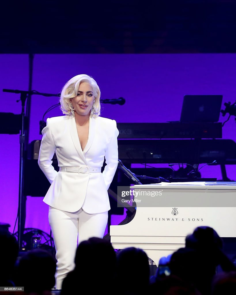 Lady Gaga performs in concert as a surprise guest during the 'Deep From The Heart: One America Appeal Concert' at Reed Arena on October 21, 2017 in College Station, Texas.