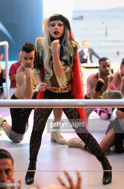 Lady Gaga performs On Canal stage on May 11 2011 in Cannes France
