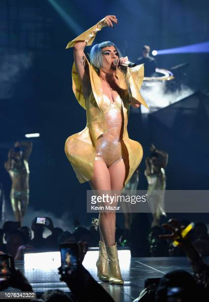 Lady Gaga performs on New Year's Eve during her 'EGNIMA' residency at Park Theater at Park MGM on December 31 2018 in Las Vegas Nevada