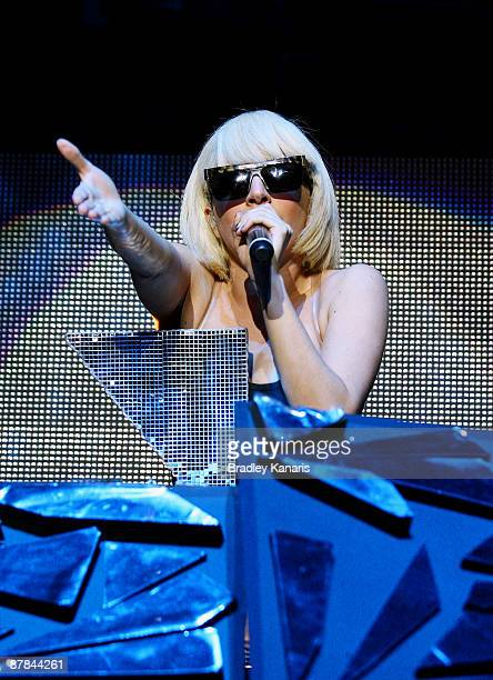 Lady Gaga performs on stage at the Brisbane Entertainment Centre on May 19, 2009 in Brisbane, Australia.