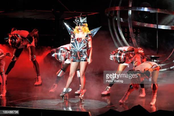Lady Gaga performs on stage at the KoenigPilsenerArena on May 24 2010 in Oberhausen Germany