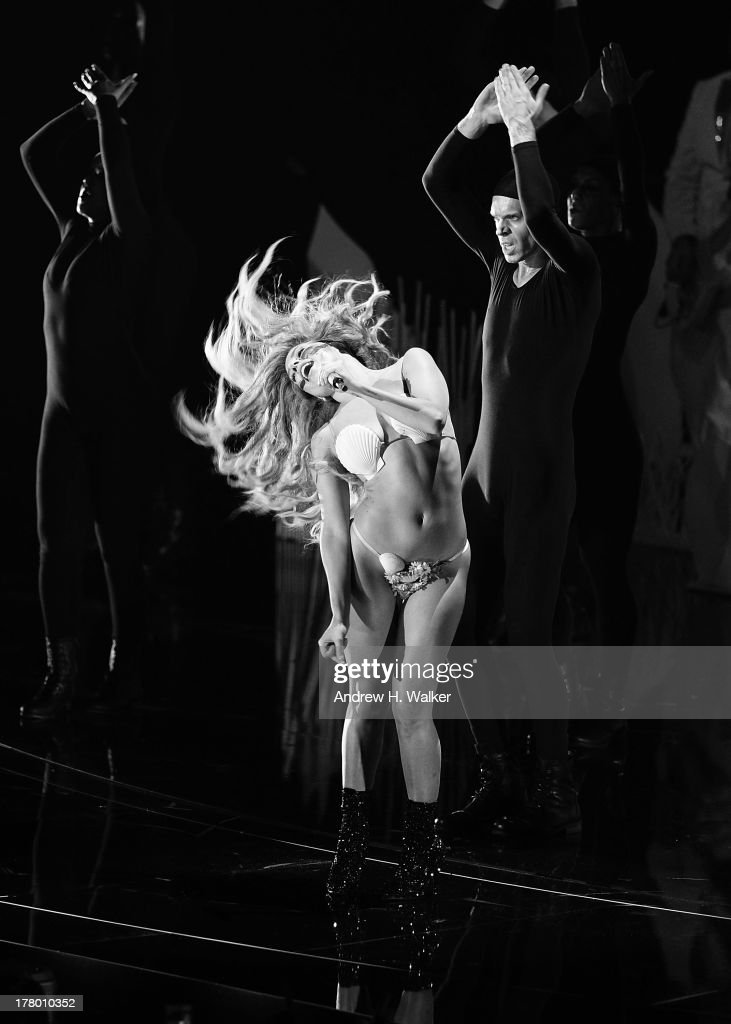 Lady Gaga performs on stage during the 2013 MTV Video Music Awards at the Barclays Center on August 25, 2013 in the Brooklyn borough of New York City.