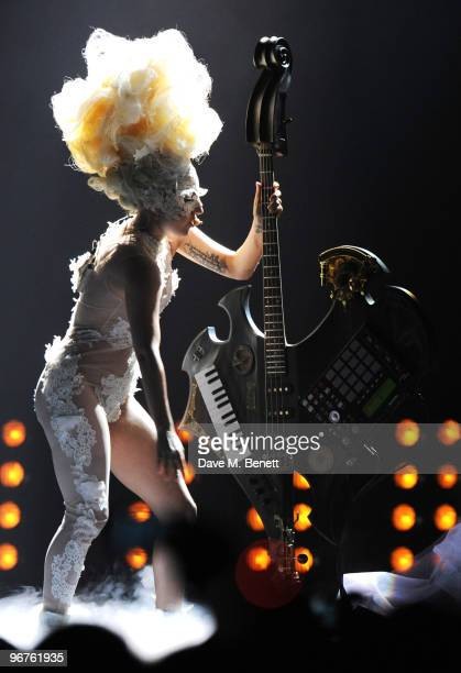 Lady Gaga performs on stage during The Brit Awards 2010 at Earls Court One on February 16 2010 in London England