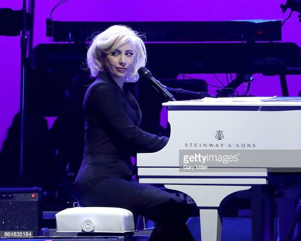 Lady Gaga performs on stage during the soundcheck for the 'Deep From The Heart One America Appeal Concert' at Reed Arena on October 21 2017 in...