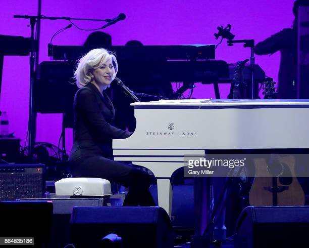 Lady Gaga performs on stage during the soundcheck for the Deep From The Heart One America Appeal Concert at Reed Arena on October 21 2017 in College...
