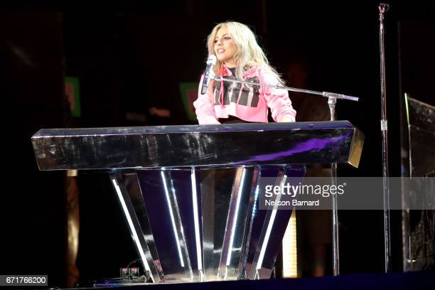Lady Gaga performs on the Coachella Stage during day 2 of the 2017 Coachella Valley Music Arts Festival at the Empire Polo Club on April 22 2017 in...