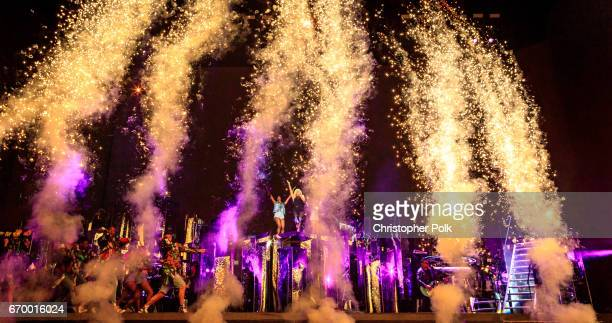 Lady Gaga performs on the Coachella Stage during day 2 of the Coachella Valley Music And Arts Festival at the Empire Polo Club on April 15 2017 in...