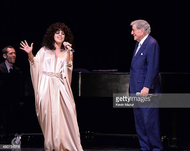 Lady Gaga performs onstage at Frank Sinatra School of the Arts on June 16 2014 in New York City