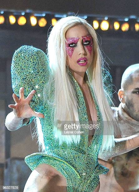 Lady Gaga performs onstage at the 52nd Annual GRAMMY Awards held at Staples Center on January 31 2010 in Los Angeles California